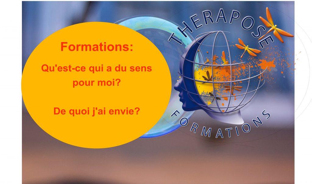 Image avec logo centre Therapose Formations et une bulle o^inscription formations de quoi j'ai envie