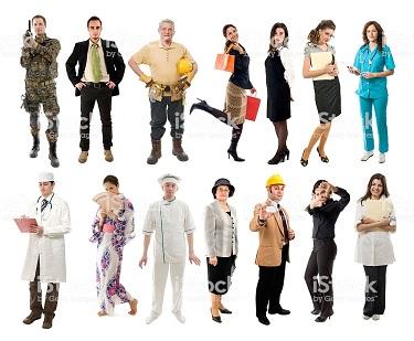 Photo de personnes représentant différents métiers